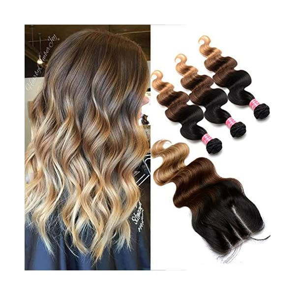 Ruma Hair Honey Blonde Ombre Hair Extensions 4pcs Lot Three Tone 1b