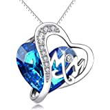 """Gifts for Mom,Sterling Silver """"Mom"""" Heart Pendant Necklace with Swarovski Crystals, Mothers Jewelry Gift"""