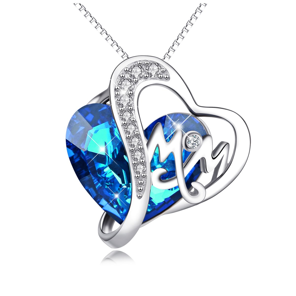 AOBOCO 925 Sterling Silver Mom Necklace with Blue Heart Swarovski Crystals Mothers Birthday Jewelry Gifts