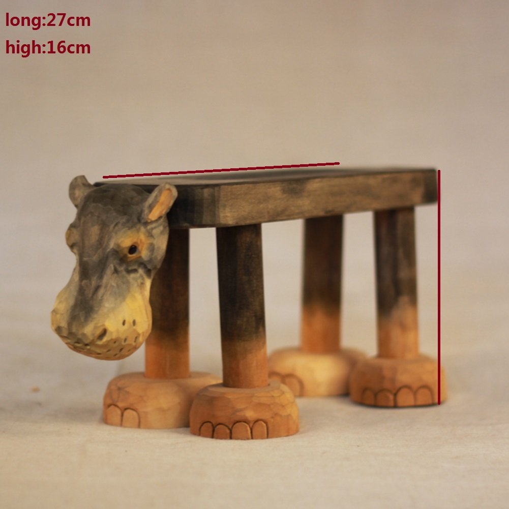 Visual taste Footstool/animal small bench/hand carving/gift/ solid wood bench/home decoration ornaments-B by Visual taste (Image #2)