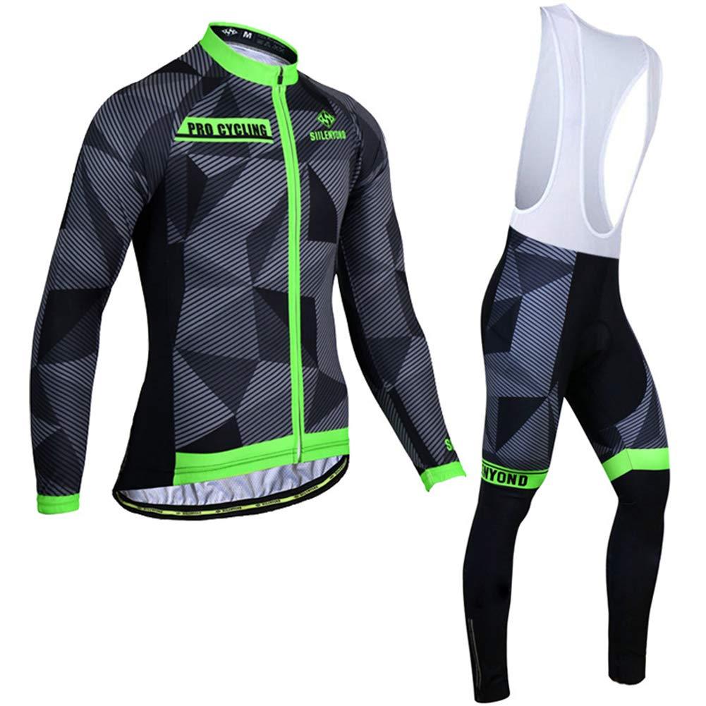 HnjPama Pro Team Autumn Unisex Men's Long Sleeve Cycling Jersey Set Bib Pants Cycling Jersey Black&Green L by HnjPama