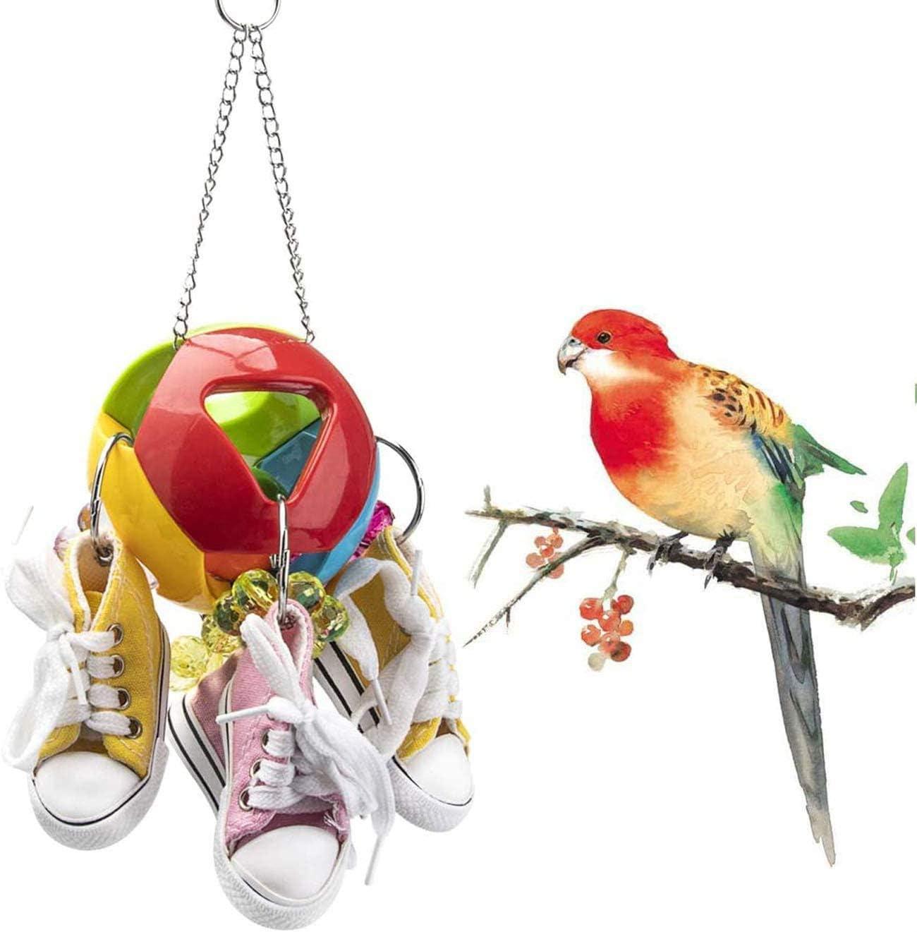 Wonninek Juguete de masticación de pájaros Mini Zapatos de Lona, Juguete de Loro con Bola de Agujero, Loro de pájaro, Jaula para Mascotas de Pesca, pinzón