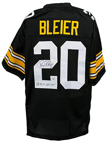 e3b221eebf4 Image Unavailable. Image not available for. Color: Rocky Bleier Autographed  Jersey - Custom Black SB IX X XIII XIV Inscribed ...
