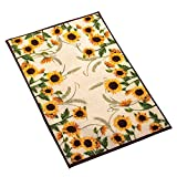 Collections Etc Autumn-inspired Sunflower Harvest Rug, Yellow, 20'' X 30''