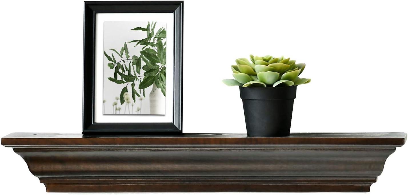 WELLAND Jefferson Crown Molding Floating Shelves Mantel Shelf (24-Inch, Espresso)
