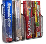Home Basics Wall/Cabinet Mount Kitchen Wrap Storage Bags Organizer, Mesh Metal