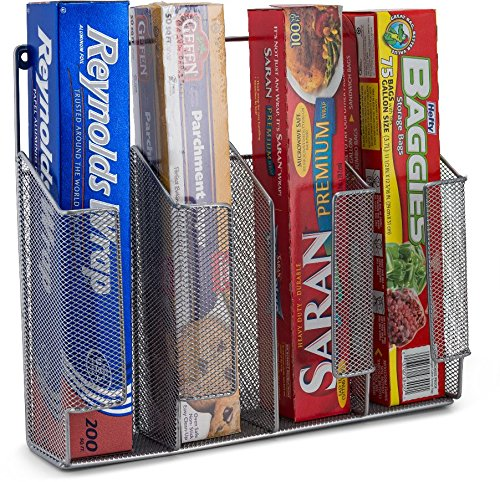 Home Basics Wall/Cabinet Mount Kitchen Wrap Storage Bags Organizer, Mesh Metal HDS Trading Corp SS49778