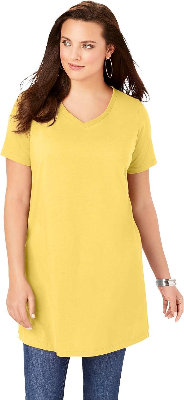Roamans Womens Plus Size Short-Sleeve V-Neck Ultimate Tunic