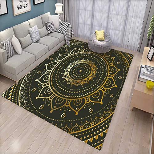 Mandala Girls Bedroom Rug Tribal Figure Ancient Spiritual Harmony Symbolic Art Illustration Bath Mats for Floors Dark Green and Goldenrod ()