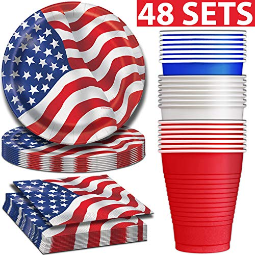 American Flag Disposable Dinnerware for 48 - Plates,
