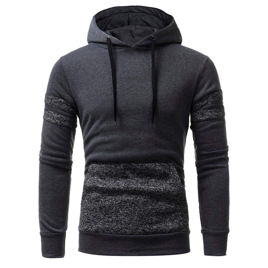 Long Sleeve Hoodie Patchwork Hooded Sweatshirt with Pocket Mens' Tops Jacket Coat Sport Outwear (Gray, XXXL)