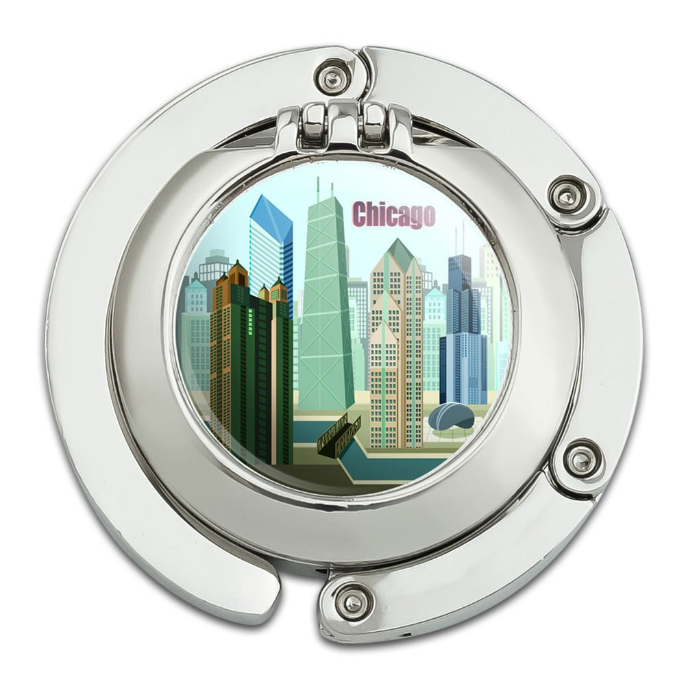 Chicago Hancock Building Willis Tower Foldable Table Bag Purse Caddy Handbag Hanger Holder Hook with Folding Compact Mirror