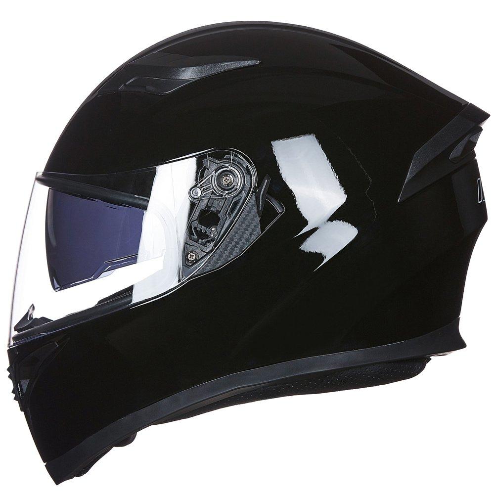 ILM 9 Colors Full Face Dual Visor Motorcycle Helmet DOT (L, GLOSS BLACK)