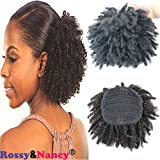 Rossy&Nancy Brazilian Human Hair Ponytail Extensions Natural Black Color Afro Kinky Curly Hair 12inch Piece Clip-in Top Closure Ponytail for Women