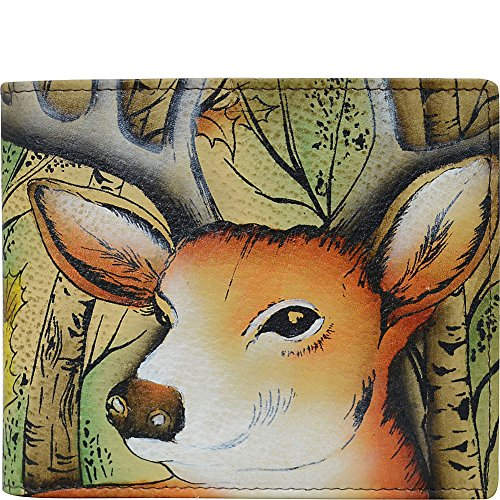 Anuschka Hand Painted Leather RFID Blocking Bi-fold Men's Wallet (Forest Buck)