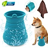 Idepet Dog Paw Cleaner Cup with Towel Pet Foot Washer Protable Dog Cleaning Brush for Puppy Cats Massage Grooming Dirty…
