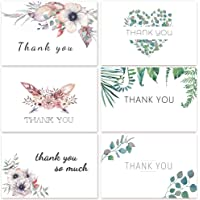 D-FantiX 48 Floral Thank You Cards, Thank You Notes Gift Cards Bulk Thank You Cards for Graduation, Wedding, Bridal, Baby Shower, 12 Designs Blank Inside 4x6 inch, with 48 White Envelopes and Stickers
