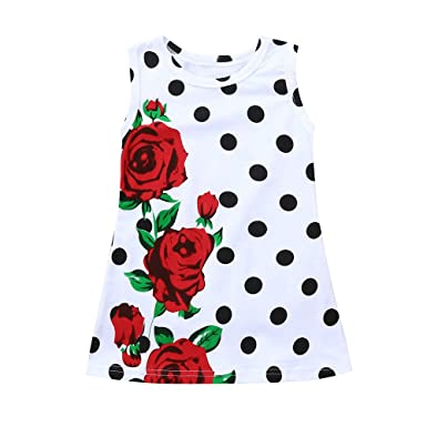 5484a7243f9 Big Promotion!PLOT Clearance Infant Toddler Baby Girls Dress Rose Dot Print  Sundress Outfits Clothes