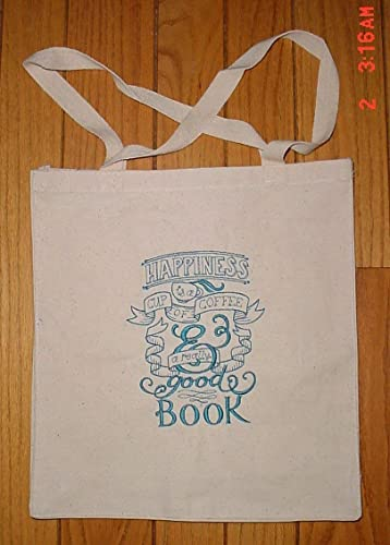 b0014adf58 Image Unavailable. Image not available for. Color  Happiness is a cup of  coffee and a good book canvas shopping bag tote