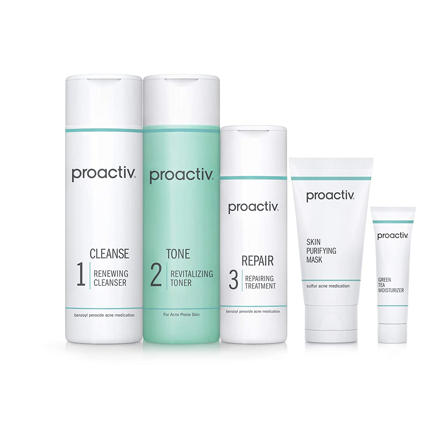 Amazon Com Proactiv 3 Step Acne Treatment Benzoyl Peroxide Face Wash Repairing Acne Spot Treatment For Face And Body Exfoliating Toner 60 Day Complete Acne Skin Care Kit Beauty