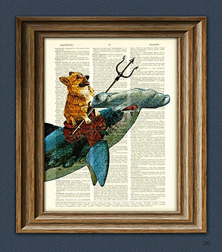 Aquadog the Corgi rides a Hammerhead shark dog original art vintage dictionary page book art - Steampunk Frame