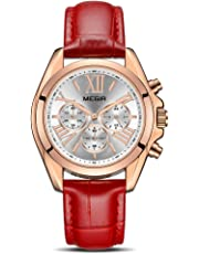 MEGIR Women's Leather Strap Wrist Watches Analogue Chronograph Quartz Watches
