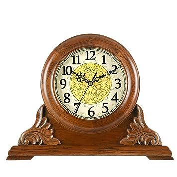 ALUK- Reloj de Madera de la Sala de Estar Reloj de Mesa de Cuarzo Antiguo Retro Mudo Americano Europeo (Color : White Clock Plate): Amazon.es: Hogar