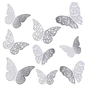 36 PCS 3D Metallic Hollow Butterfly Wall Decals Sticker, Wall Decal Decor Art Decorations Sticker Set, DIY/Handmade/Removable Home Decor for Kids Bedroom Living Room Party Wedding(Silver)