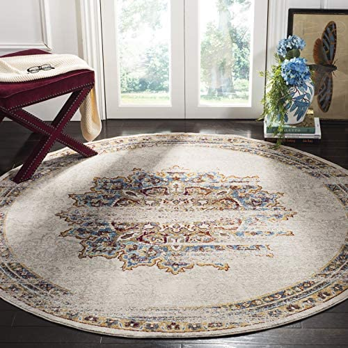 Safavieh Aria Collection Premium Wool Round Area Rug, 6 5 Diameter, Cr me Red