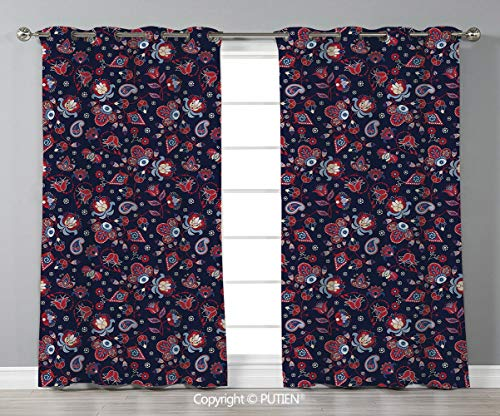 Grommet Blackout Window Curtains Drapes [ Asian,Eastern Inspired Floral Illustration Abstract Fantastic Ornamental Paisleys Decorative,Dark Blue Red Cream ] for Living Room Bedroom Dorm Room Classroom