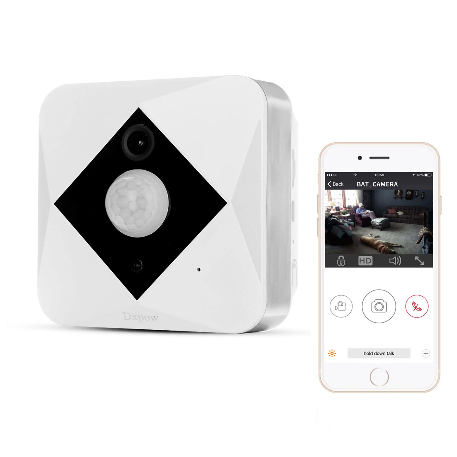 Dxpow Wireless Security Camera, 960P Smart Home WiFi Security Camera System with PIR Motion Detection, HD Video, Battery-Powered, 2-Way Audio, Night Vision Alerts Video Camera for Your Smartphone