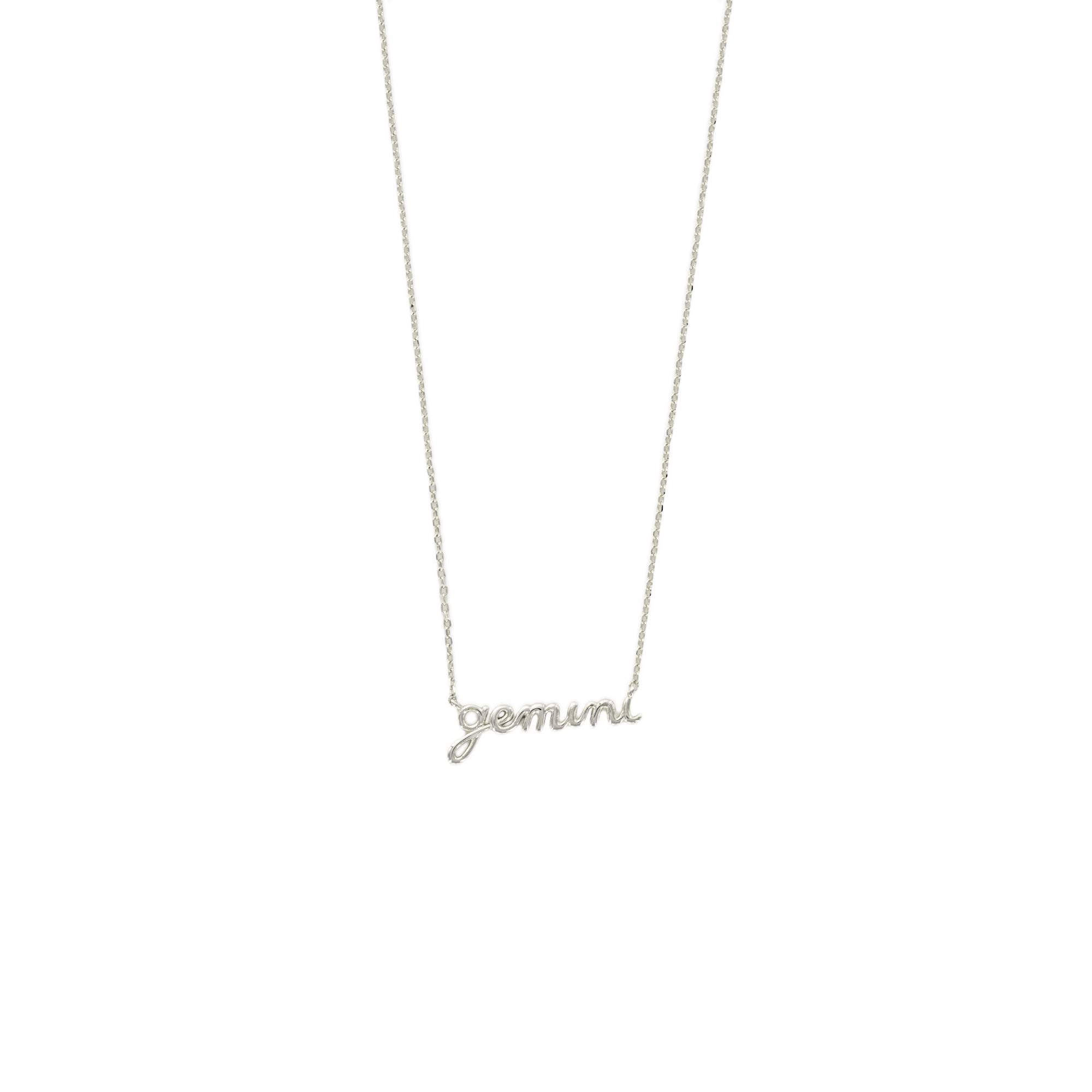 Columbus Rhodium Plated Astrology Horoscope Zodiac Necklace (Gemini (May 21 to June 20))