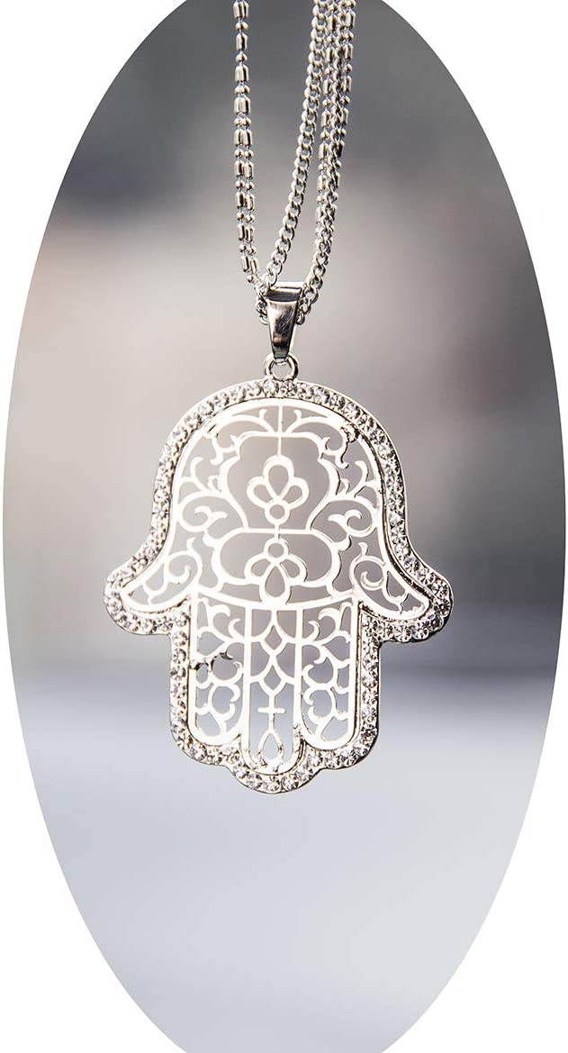 Boltz Hamsa Car Charm Rear View Mirror Accessories,Car Mirror Hanging Ornaments Decoration (Silver Color)