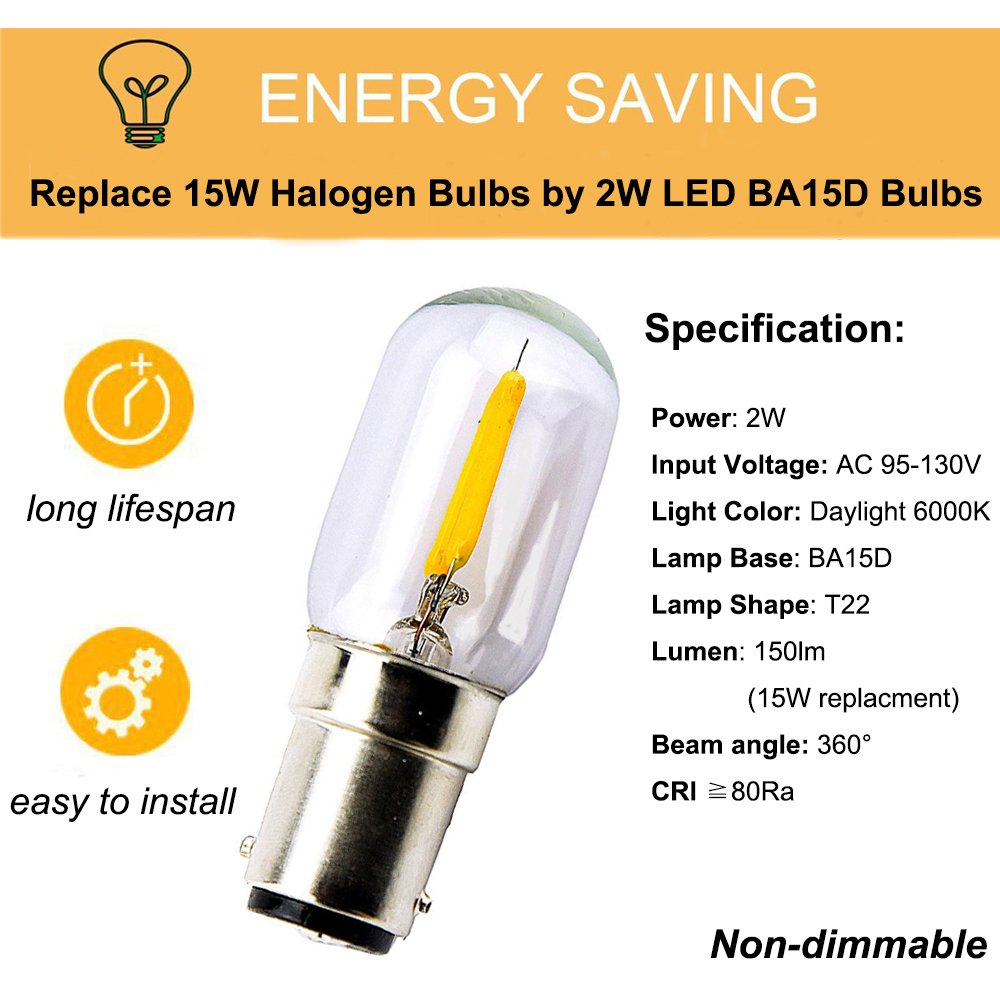 120v Ba15d Led Filament T22 Light Bulbs 2w Ba15d Double