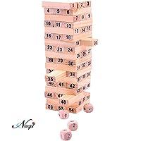 Negi 48 Pieces Jenga Wood Toys Fold High 48 pcs Wooden Building Blocks Game with Dice (Wooden Tumbling Stacking Jenga)