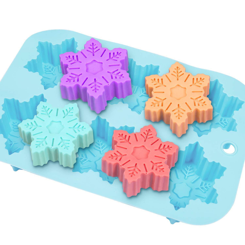 Senbowe Silicone Donuts Baking Mold- Set of 4 | Silicone Cake Baking Molds,| Round Doughnut-shape (6) | Flower-shape(6)| Snowflake-shape (6)|Non Stick Baking Molds Set | Oven & Dishwasher Safe by senbowe (Image #2)