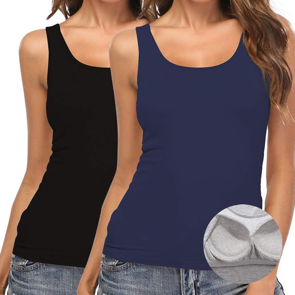 SLIMBELLE Damen BH-Hemd Unterhemd mit Eingebautem BH ohne B/ügel Rundhals Basic Tank Tops f/ür Cup A-C