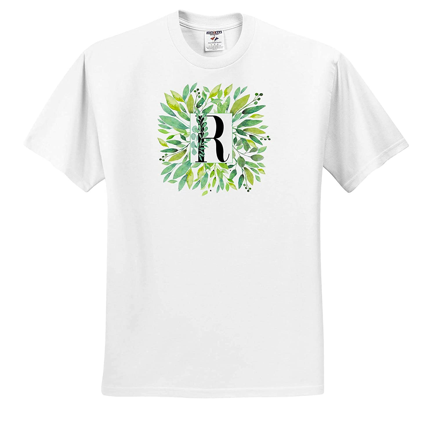 ts/_318094 Monograms 3dRose Anne Marie Baugh Pretty Image of Watercolor Greenery Leaves Monogram R Adult T-Shirt XL