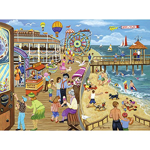 Bits and Pieces - 1000 Piece Jigsaw Puzzle for Adults - Ice Cream on The Boardwalk - 1000 pc Beach, Jersey Shore Jigsaw by Artist Sandy Rusinko