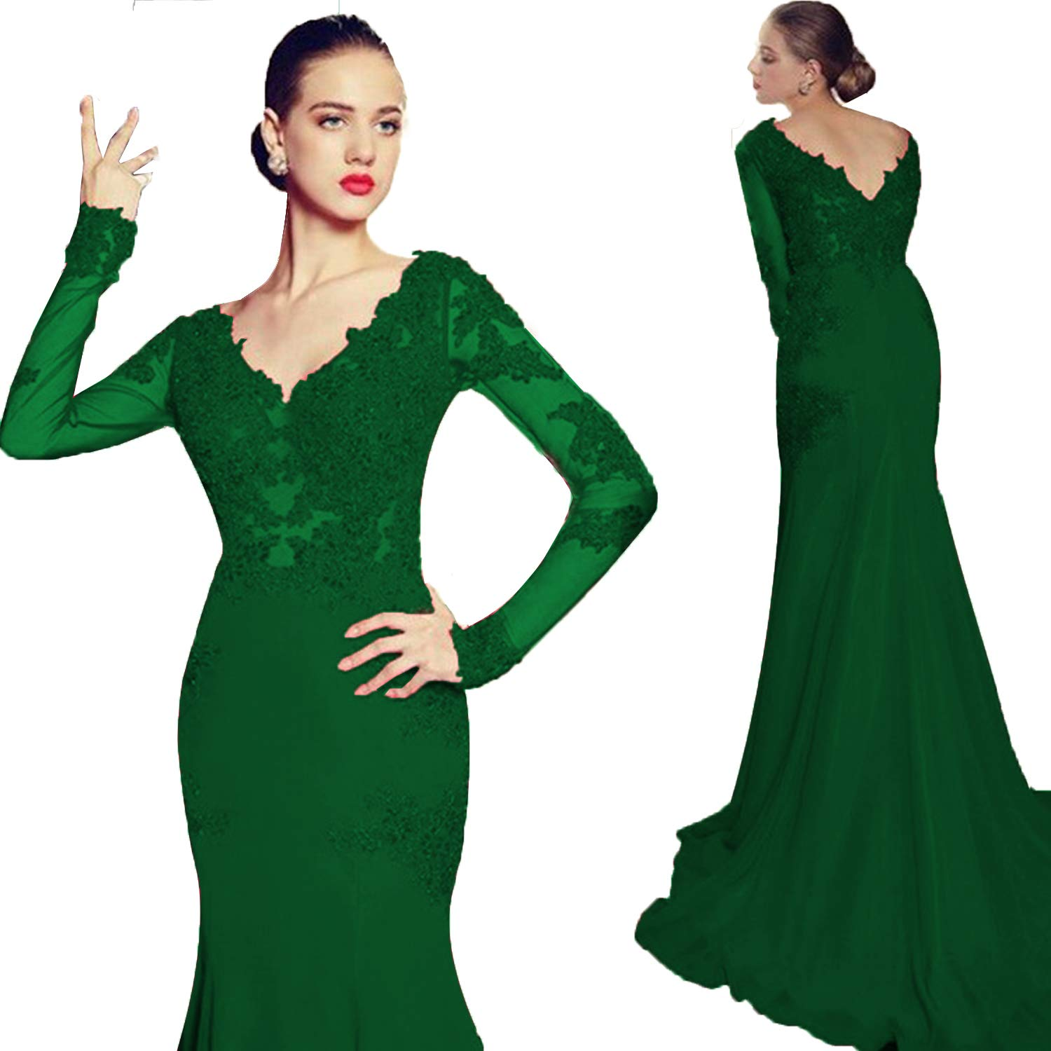 Emerald Green Promworld Women's Double V Neck Lace Applique Mermaid Prom Dress Illusion Formal Evening Gown with Sleeve with Sleeve