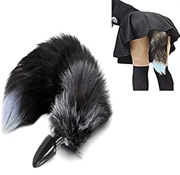 f70df27a0 100 Pcs Silicone Butt Plug Black Fox Tail Anal Plug Smooth Fur Sex Toys for  Women