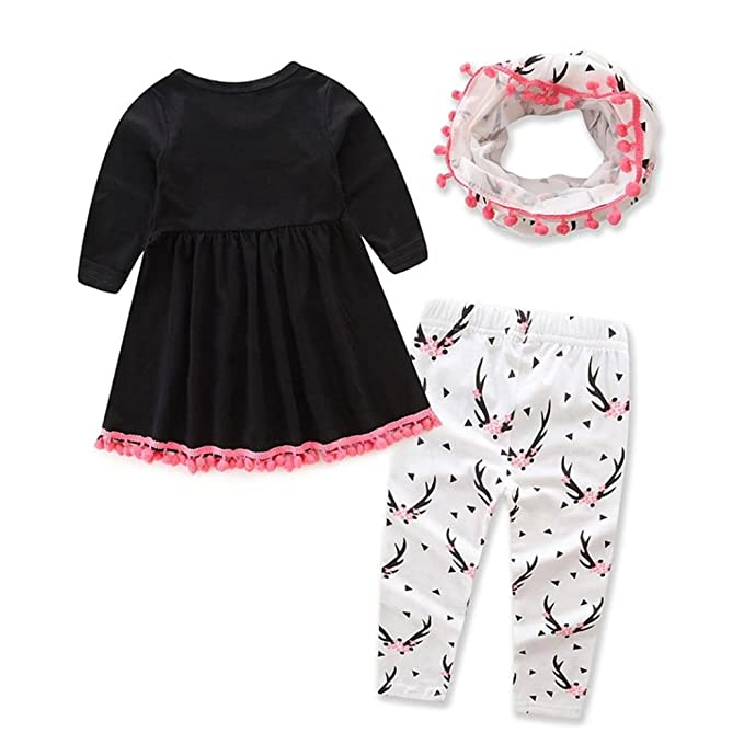 0eeae583099a Amazon.com  Toddler Baby Girls Deer Print Tops+Pants +Scarf Outfits Suit  Clothes Vibola  Clothing