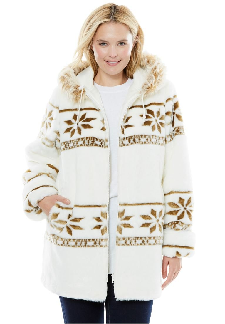 Women's Plus Size Jacket, Hooded With Faux Fur With Snowflake Pattern White,2X