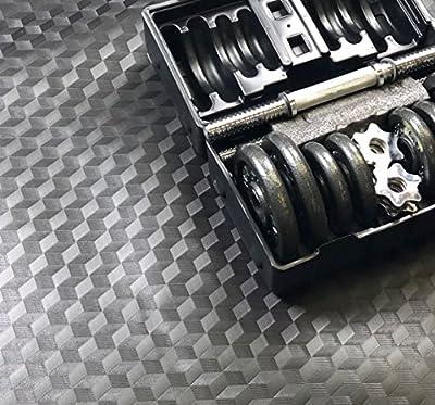 AMERIQUE 691322304107 Premium 3Rd Generation Unique and Durable Embossed Diamond Plate Metallic Vinyl Flooring, 28'L x 3.6'W/100sq. ft./2mm, Grade Diamond, 100 Square Feet