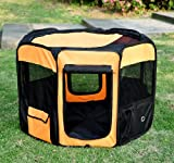 PawHut Deluxe Soft Sided Folding Pet Playpen/Crate, 36″, Orange/Black