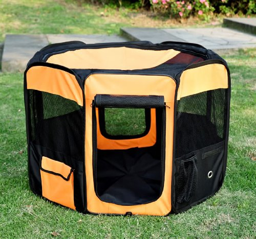 "UPC 609207964704, Pawhut Deluxe Soft Sided Folding Pet Playpen/Crate, 36"", Orange/Black"