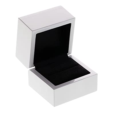 Amazoncom Glossy White Jewelry Ring Box Wood w Black Interior