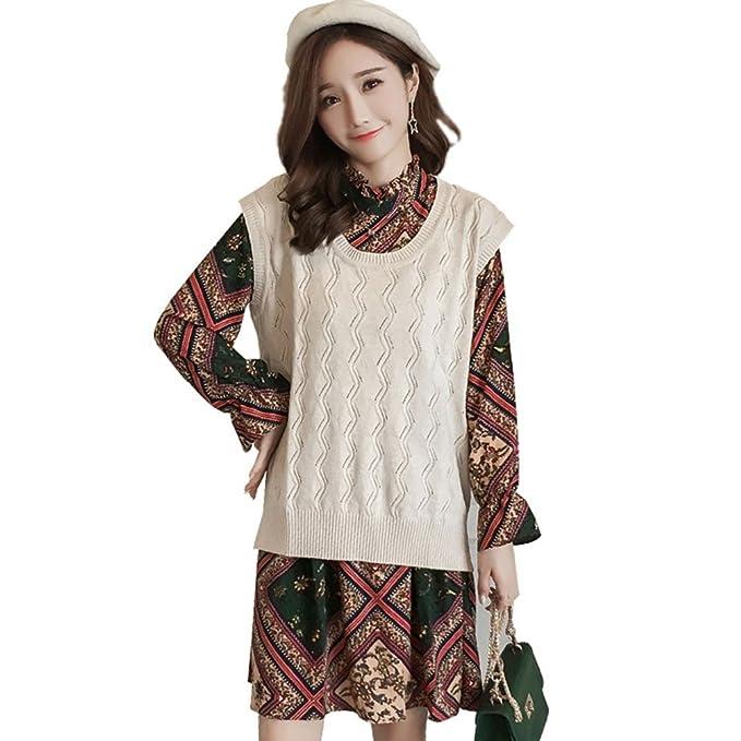 HZFF Chiffon Vestido de manga larga, chaleco de algodón, dos conjuntos sueltos, mujeres embarazadas abrigo largo: Amazon.es: Ropa y accesorios