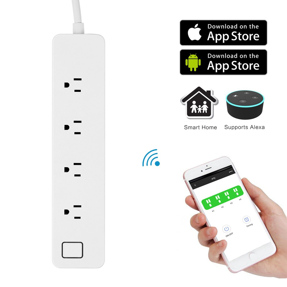 Smart Power Strip, Powstro WiFi Multi Outlets with 3 USB Ports & 4 Remote Controlled AC Plugs, Separately Control Compatible Work with Amazon Alexa/Echo/Google Home for iOS Android