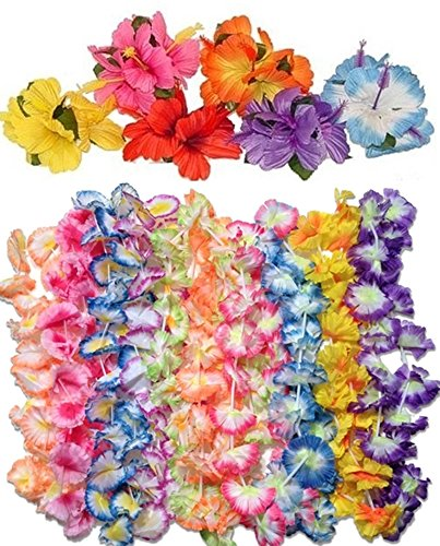 12 jumbo carnation leis +12 hibiscus hair clips -luau party (Carnation Leis)